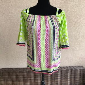 Crown & Ivy Pink Lime White Navy Off Shoulder XS